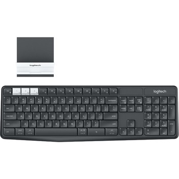 Logitech® K375s Multi-Device Wireless Keyboard and Stand Combo - Wireless Connectivity - Bluetooth/RF - USB Interface - Mac OS, Android, Windows, iOS, Chrome OS - Graphite, Off White
