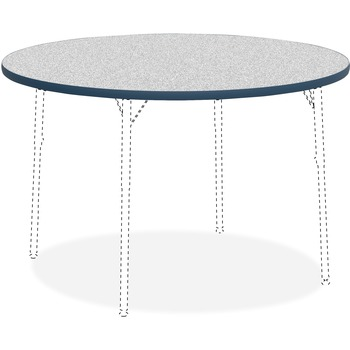 """Lorell® Activity Tabletop, High Pressure Laminate, 1.13"""" Thickness x 48"""" Diameter, Assembly Required, Gray Nebula/Blue"""