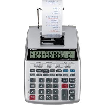 "Canon® P23-DHV-3 12-digit Printing Calculator, 2.2"" x 6.4"" x 9.1"", Silver"