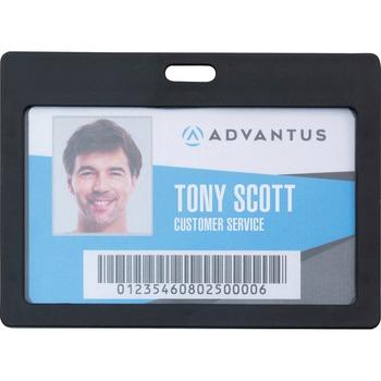 Advantus Horizontal Rigid ID Badge Holder, Horizontal, Plastic, Black, 6/PK