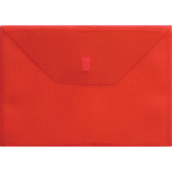 "Lion Hook and Loop Closure Poly Envelopes, Letter, 8 1/2"" x 11"" Sheet Size, 180 Sheet Capacity, Polypropylene, Transparent, Red, Recycled"