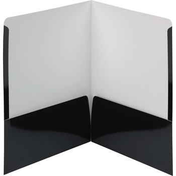 "Smead® High-Gloss Two-Pocket Folders, Letter, 8 1/2"" x 11"" Sheet Size, 2 Pockets, Black, 25/BX"