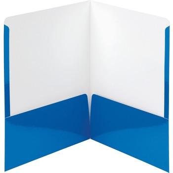 """Smead® High-Gloss Two-Pocket Folders, 8 1/2"""" x 11"""" Sheet Size, Blue, 25/BX"""