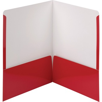 "Smead® High-Gloss Two-Pocket Folders, Letter, 8 1/2"" x 11"" Sheet Size, 2 Pockets, Red, 25/BX"