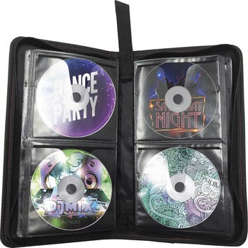 Maxell® Traditional CD & DVD Travel Case, Leather, Polypropylene, Black, 64 CD/DVD