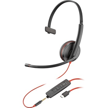 Plantronics® Blackwire C3215 Headset - Mono - USB Type C, Mini-phone - Wired - 20 Hz - 20 kHz - Over-the-head - Monaural - Supra-aural - Noise Cancelling Microphone - Black