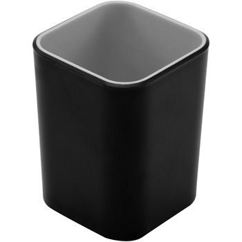 "Advantus Fusion Pencil Cup, 4"" x 2.8"" x 2.8"", Polystyrene, Black, Gray"