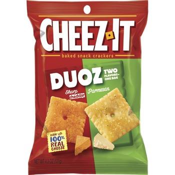 Duoz Cheddar/Parmesan Crackers, Sharp Cheddar, Parmesan, Carton, 4.30 oz, 6/CT