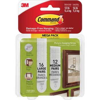 Command Picture Hanging Strips Mega/PK, 3 lb, 4 lb Capacity, for Pictures, White, 28/PK
