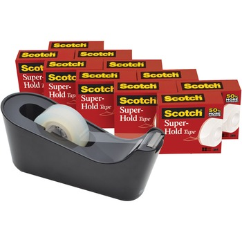 """Scotch™ Super-Hold Tape, 0.75"""" Width x 83.33 ft Length, Durable, Reusable, Dispenser Included, Clear, 10/PK"""
