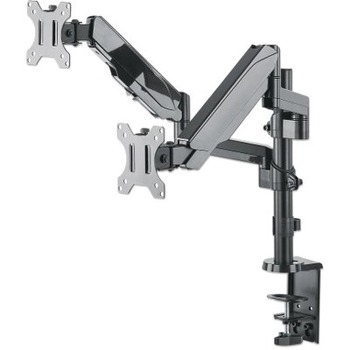 """Manhattan Universal Gas Spring Dual Monitor Mount - Two Jointed Arms - Supports Two 17"""" to 32"""" TVs or Monitors up to 17.64 lbs."""