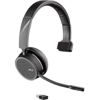 Voyager 4200 Uc Series Bluetooth Headset Mono Wireless Bluetooth 98 4 Ft 32 Ohm 20 Hz 20 Khz Over The Head Monaural Supra Aural Uni Directional Mems Technology Noise Cancelling Microphonetaa Compliant Wb Mason