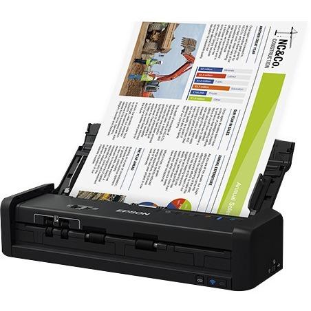 Epson WorkForce ES-300W Cordless Sheetfed Scanner - 600 dpi Optical - 48-bit Color - 24-bit Grayscale - 25 ppm (Mono) - 25 ppm (Color) - PC Free Scanning - Duplex Scanning - USB