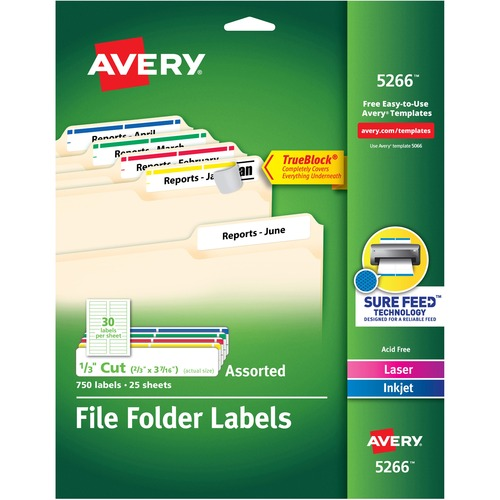 "Avery® File Folder Labels - TrueBlock - Sure Feed - Permanent Adhesive - 2/3"" Width x 3 7/16"" Length - Rectangle - Laser, Inkjet - Red, Blue, Gree"