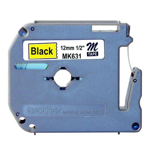 """Brother P-touch Nonlaminated M Series Tape Cartridge - 1/2"""" - Direct Thermal - Black, Yellow - 1 Each"""