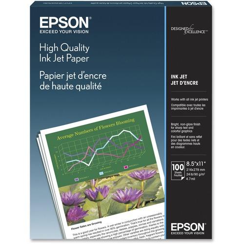"""Epson Inkjet Inkjet Paper - White - 89 Brightness - 92% Opacity - Letter - 8 1/2"""" x 11"""" - 24 lb Basis Weight - Matte - 100 / Pack"""