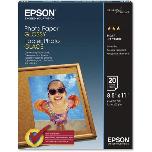"Epson Inkjet Photo Paper - White - 92 Brightness - 96% Opacity - Letter - 8 1/2"" x 11"" - 52 lb Basis Weight - Glossy - 20 / Pack"