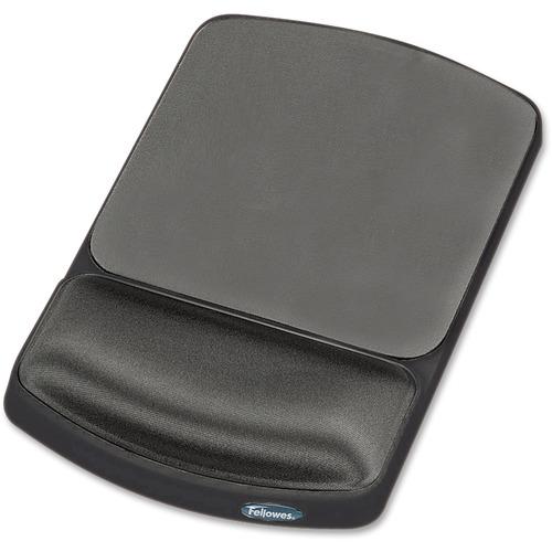 "Fellowes Gel Wrist Rest and Mouse Pad - Graphite/Platinum - 0.9"" x 6.3"" x 10.1"" Dimension - Platinum, Graphite - Gel, Lycra Cover - Wear Resistant, Te"