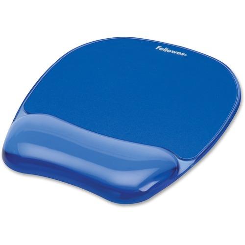 "Fellowes Crystals® Gel Mousepad/Wrist Rest - Blue - 0.8"" x 7.9"" x 9.2"" Dimension - Blue - Gel Base, Rubber Back, Polyurethane Cover - Stain Resist"