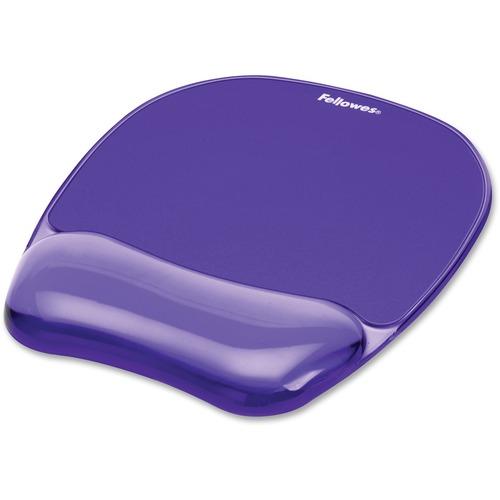 "Fellowes Crystals® Gel Mousepad/Wrist Rest - Purple - 0.8"" x 7.9"" x 9.2"" Dimension - Purple - Rubber Back, Gel, Polyurethane Cover - Stain Resista"