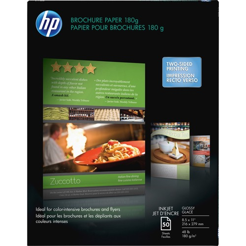 """HP Inkjet Brochure/Flyer Paper - Glossy - 89 Brightness - 98% Opacity - Letter - 8 1/2"""" x 11"""" - 48 lb Basis Weight - Glossy - 50 / Pack"""