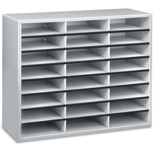 "Fellowes Literature Organizer - 24 Compartment Sorter, Dove Gray - 24 Compartment(s) - Compartment Size 2.50"" (63.50 mm) x 9"" (228.60 mm) x 11.63"" (29"