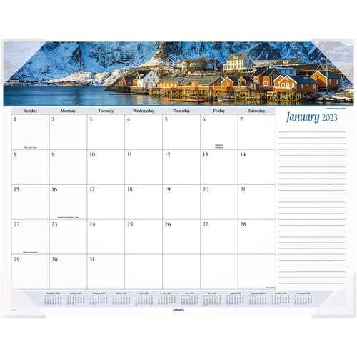 """At-A-Glance Panoramic Seascape Scene Monthly Desk Pad - Yes - Monthly - 1 Year - January 2021 till December 2021 - 1 Month Single Page Layout - 22"""" x"""