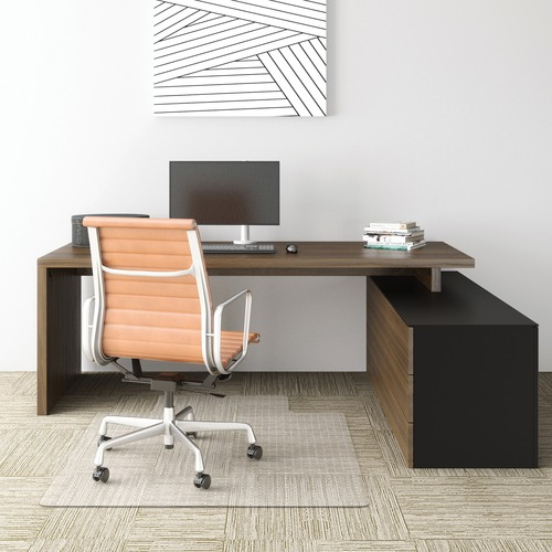 "Deflecto Economat for Carpet - Carpeted Floor - 53"" Length x 45"" Width - Lip Size 12"" Length x 25"" Width - Vinyl - Clear"