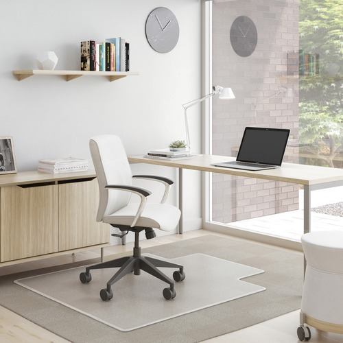 """Deflecto SuperMat for Carpet - Carpeted Floor - 60"""" Length x 46"""" Width x 0.75"""" Thickness - Lip Size 12"""" Length x 25"""" Width - Vinyl - Clear"""
