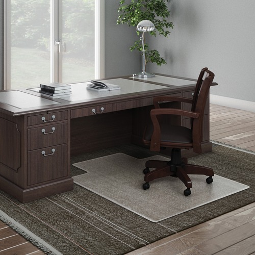 "Deflecto ExecuMat for Carpet - Carpeted Floor - 53"" Length x 45"" Width x 0.33"" Thickness - Lip Size 12"" Length x 25"" Width - Vinyl - Clear"