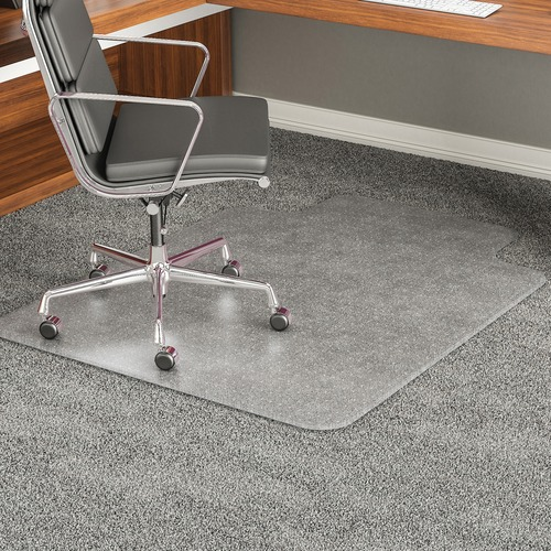 "Deflecto ExecuMat for Carpet - Carpeted Floor - 60"" Length x 60"" Width x 0.33"" Thickness - Lip Size 10"" Length x 30"" Width - Vinyl - Clear"