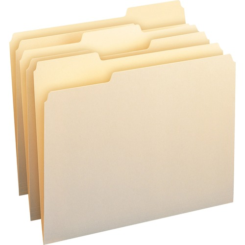 """Smead 100% Recycled File Folders - Letter - 8 1/2"""" x 11"""" Sheet Size - 3/4"""" Expansion - 1/3 Tab Cut - Top Tab Location - Assorted Position Tab Position"""