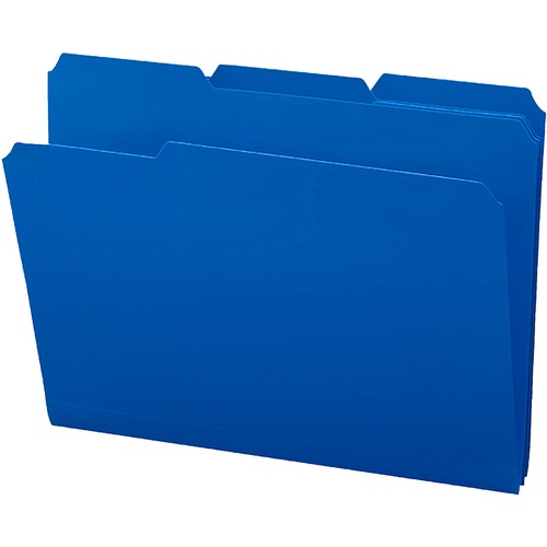 """Smead 1/3-cut Tab Poly File Folders - Letter - 8 1/2"""" x 11"""" Sheet Size - 1/3 Tab Cut - Top Tab Location - Assorted Position Tab Position - Poly - Blue"""