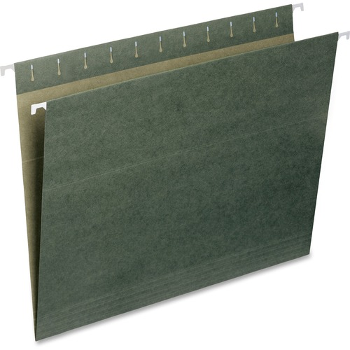 """Smead Hanging File Folders - Letter - 8 1/2"""" x 11"""" Sheet Size - 2"""" Expansion - 11 pt. Folder Thickness - Standard Green - 1.90 oz - Recycled - 25 / Bo"""