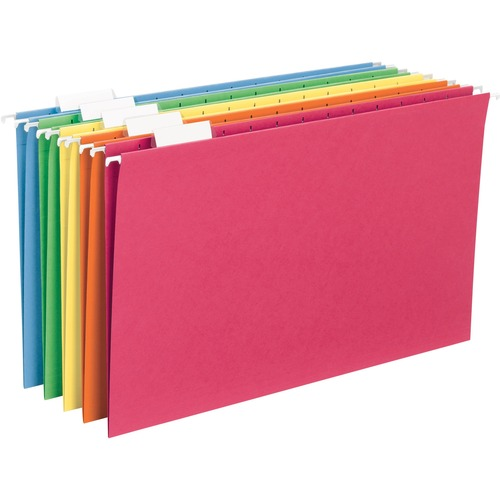 """Smead Hanging File Folder with Tab - Legal - 8 1/2"""" x 14"""" Sheet Size - 1/5 Tab Cut - Top Tab Location - Assorted Position Tab Position - 11 pt. Folder"""