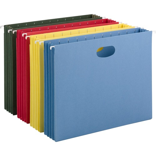 """Smead Hanging Pockets with Full-Height Gusset - Letter - 8 1/2"""" x 11"""" Sheet Size - 3 1/2"""" Expansion - 11 pt. Folder Thickness - Blue, Green, Red, Yell"""