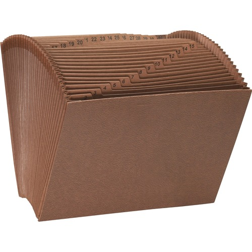 """Smead Tuff Expanding File - Letter - 8 1/2"""" x 11"""" Sheet Size - 7/8"""" Expansion - 31 Pocket(s) - Redrope - 2.39 lb - Recycled - 1 Each"""