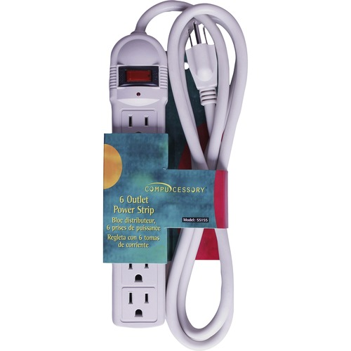 Compucessory 6-Outlet Power Strips - 6 Ft - Putty - 1/EA