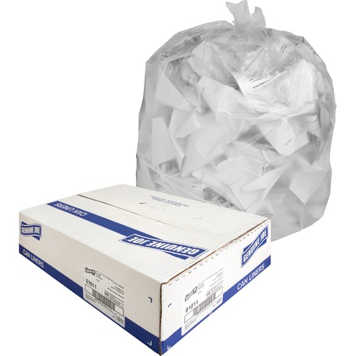 """Genuine Joe Clear Trash Can Liners - Small Size - 16 gal - 24"""" Width x 33"""" Length x 0.60 mil (15 Micron) Thickness - Low Density - Clear - 500/Carton"""