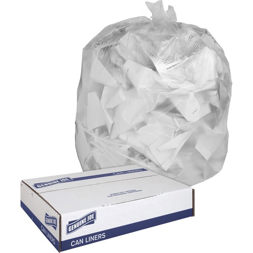 """Genuine Joe Clear Trash Can Liners - Medium Size - 30 gal - 30"""" Width x 36"""" Length x 0.60 mil (15 Micron) Thickness - Low Density - Clear - 250/Carton"""