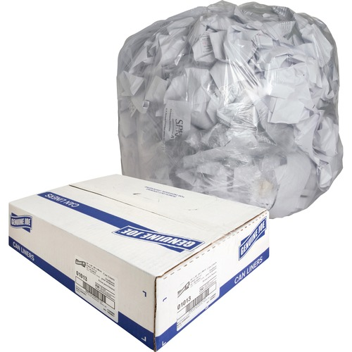 """Genuine Joe Clear Trash Can Liners - Medium Size - 33 gal - 33"""" Width x 39"""" Length x 0.60 mil (15 Micron) Thickness - Low Density - Clear - 250/Carton"""