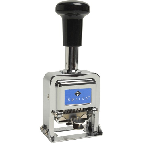"""Sparco Automatic Numbering Machines - Number Stamp - 0.16"""" (3.99 mm) Impression Width x 0.75"""" (19.05 mm) Impression Length - Chrome, Black - Metal - 1 Each"""