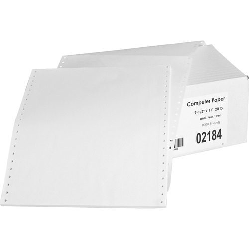 """Sparco Continuous Paper - White - Letter - 8 1/2"""" x 11"""" - 20 lb Basis Weight - 1000 / Carton"""