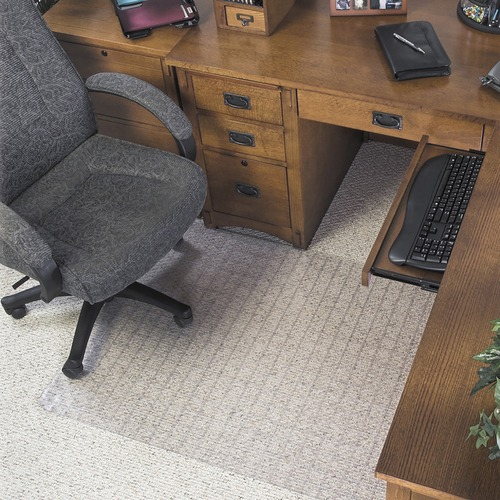 """Deflecto Checker Bottom SuperMat for Carpets - Office, Carpeted Floor - 53"""" Length x 45"""" Width - Lip Size 12"""" Length x 25"""" Width - Clear"""