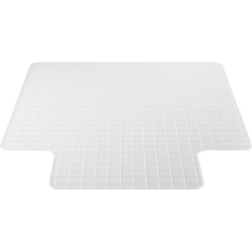 "Deflecto Checker Bottom DuraMat for Carpets - Office, Carpeted Floor - 53"" Length x 45"" Width - Lip Size 12"" Length x 25"" Width - Clear"