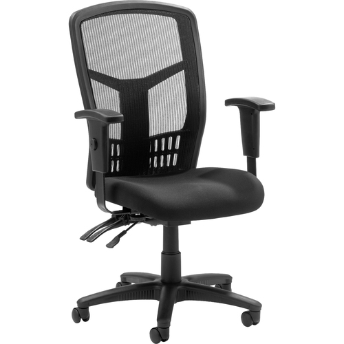 "Lorell Executive High-back Mesh Chair - Fabric Black Seat - Gray Back - Steel Black, Plastic Frame - 5-star Base - 21"" Seat Width x 19.5"" Seat Depth -"