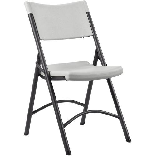 "Lorell Heavy-duty Tubular Folding Chairs - 4/CT - Platinum Polyethylene Seat - Polyethylene Back - Steel Frame - Steel, Polyethylene - 18.5"" Width x 2"
