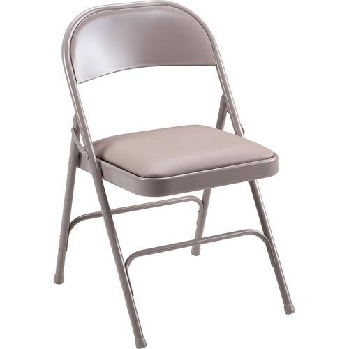 "Lorell Steel Folding Chairs - 4/CT - Beige Vinyl Seat - Beige Steel Frame - 19.4"" Width x 18.3"" Depth x 29.6"" Height - 4 / Carton"