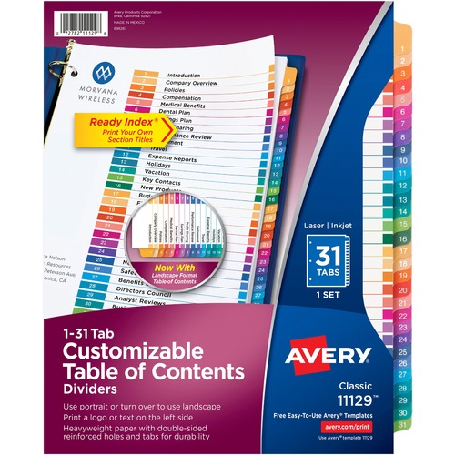 """Avery® Ready Index 1-31 Tab Custom TOC Dividers - 31 x Divider(s) - 1-31, Table of Contents - 31 Tab(s)/Set - 8.50"""" Divider Width x 11"""" Divider Length - 3 Hole Punched - White Paper Divider - Multicolor Paper Tab(s)"""