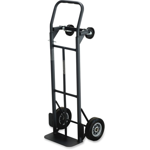 """Safco Tuff Truck Convertible - 226.80 kg Capacity - 8"""" (203.20 mm) Caster Size - x 18.5"""" Width x 12"""" Depth x 52"""" Height - Steel Frame - Black - 1 Each"""